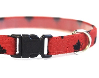 Red Dog Collar | Leaf Collar | Canadian Dog Collar | Red Cat Collar Breakaway | Handmade | Adjustable | Red and Black Collar | Maple Leaf
