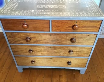 Painted and Stenciled Chest of drawers by Foxyladyfurniture .