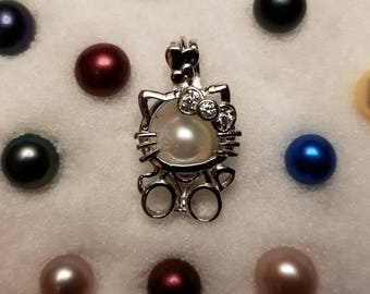 901990845 NEW 925 Sterling silver hello kitty pearl cage locket pendant necklace with  pearl (chain and oyster included)