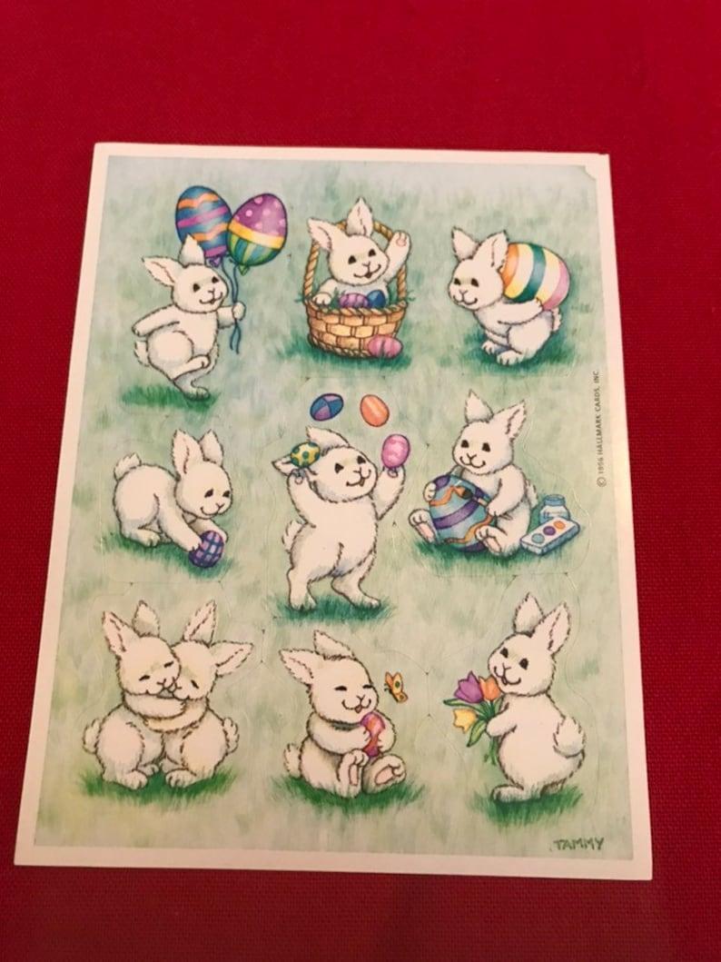 Vintage HALLMARK 1996 Easter Bunny Stickers