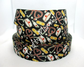 """Medical Themed Doctor or Nurse with Medical Image and Nurse Hat on 1"""" Grosgrain Ribbon by the yard. Choose between 3/5/10 Yards."""