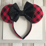 Red Buffalo Plaid Mickey Ears . Christmas Mickey Ears . Fall Mickey Ears. Plaid Mickey Ears