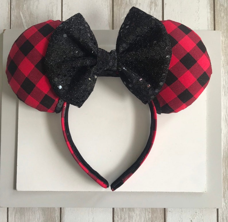 Red Buffalo Plaid Mickey Ears . Christmas Mickey Ears . Fall image 0