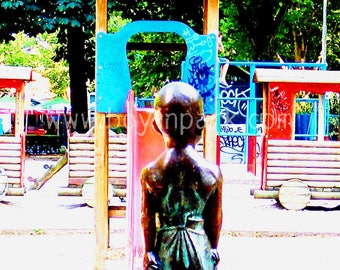 Boy in Park - A4 Mounted Photographic Art Print