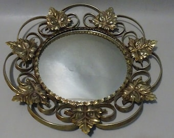 Mirror with graceful yellow copper frame-1960/1970