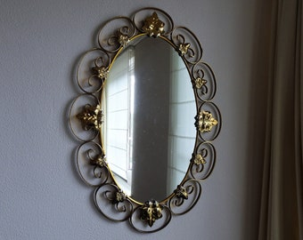 Mirror with yellow copper frame - 1970s - vintage