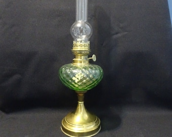 Vintage Oil Lamp - Green Glass and Yellow Copper - 1970s