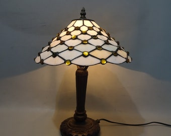 Tiffany style white standing table lamp