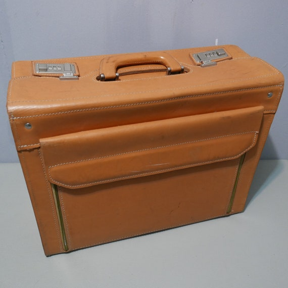 Franzen-Briefcase/pilot case-leather-Germany-1970s