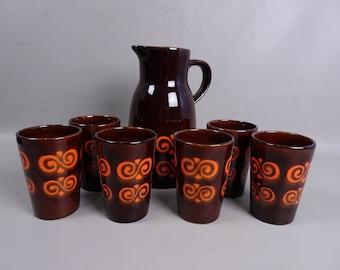 Retro Dinnerware Set 6 mugs and jug-Germany-years 60/70