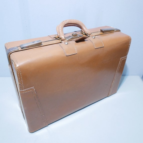 Leather Briefcase / Pilot's suitcase with linen in