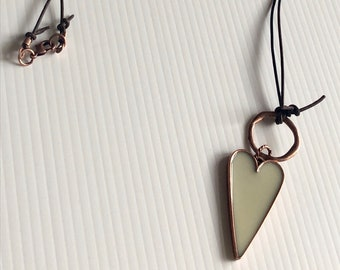 TRENDING NOW Rustic Chocolate Knotted Leather Necklace with Long Heart Pendant