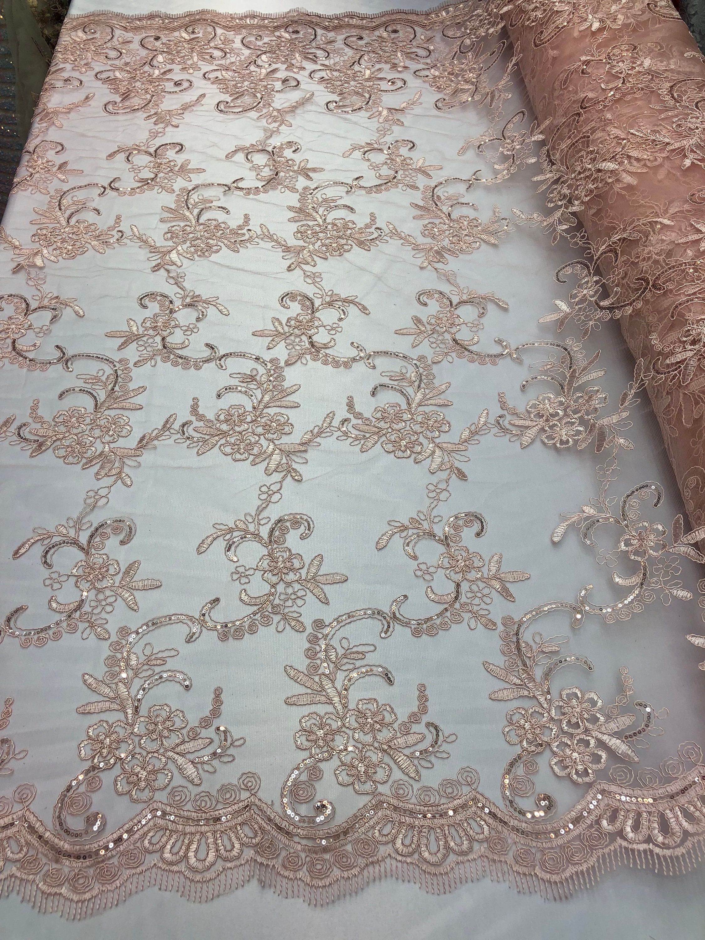Bridal Pink Lace Fabric By The Yard Corded Flowers Embroidery With