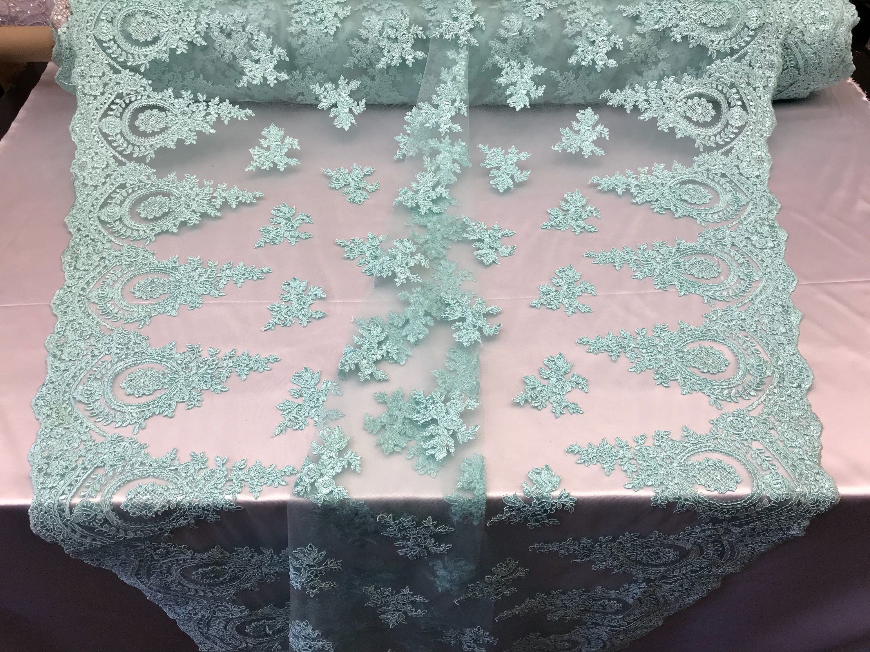 International Lace fabric By The Yard - Aqua Embroidred Corded Mesh ...