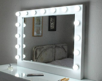 Hollywood vanity mirror with lightsMake up Mirror with lights-wall hanging mirror35.5''x27.5''Perfect for IKEA Malm vanityBulbs Not included