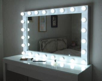 Vanity mirror etsy xl hollywood vanity mirror with lights make up mirror wall hanging mirror43x27 perfect for ikea malm vanity bulbs not included aloadofball Gallery