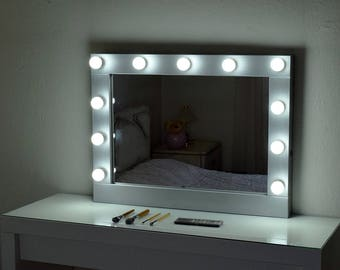 Vanity mirror etsy silver hollywood vanity mirror with lights make up mirror with lights wall hanging mirror bulbs not included aloadofball Gallery