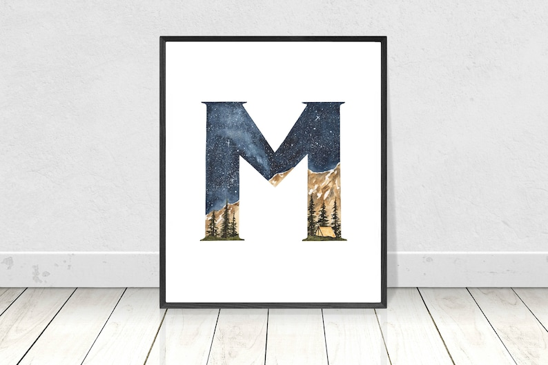 photo about Letter M Printable titled Letter M Monogram- Letter M Artwork Print- Letter M Printable- Nursery Letter M Wall Artwork- Alphabet Letter M Watercolor Portray- Nursery Reward