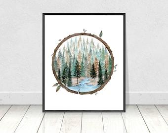 Circle Wood Slice Watercolor Scenery Painting- Round Landscape Art Print- Wood Slice Artwork Wall Art- Tree Slice Art- Evergreen Forest Art