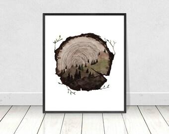 Tree Ring Watercolor Painting Art Print- Wood Slice Poster- Circle Nature Art- Tree Lino Cut Art- Tree Stump Art- Tree Rings Painting Print