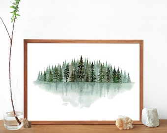 Green Pine Trees Original Watercolor Tree Line Painting Landscape Print- Watercolor Pine Forest Living Room Wall Art- Minimal Design Nature