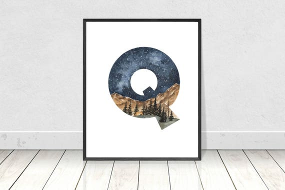 graphic relating to Letter Q Printable titled Alphabet Poster Letter Q Watercolor Nursery Portray Printable Art- Alphabet Letters Nursery Area Wall Artwork- Tenting Topic Nursery Artwork