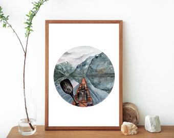 Kayaking Watercolor Painting Fine Art Print- Sports Artwork- Kayak Art Print- Outdoor Sport Poster- Kayak Water Sports Print- Kayaker Art