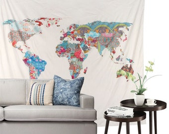 World map tapestry etsy patchwork world map tapestry world map wall art world map wall hanging dorm tapestry world map art tribal map tapestry dorm decor gumiabroncs Images