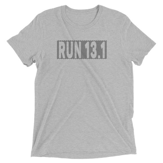 Men's Checkered Run 13.1 TriBlend T-Shirt - Half Marathon Shirt - Men's Short Sleeve Running Shirt