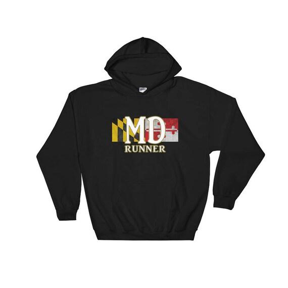 Maryland Runner Hooded Sweatshirt - Hoodie - Run Maryland - Heavy & Warm Sweatshirt