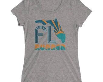 Women's Florida Runner TriBlend T-Shirt - Running T-Shirt - Run Florida - Women's Short Sleeve Running Shirt