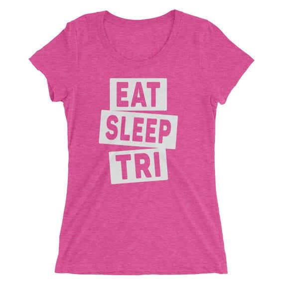 Women's Eat Sleep TRI Triblend T-Shirt - Triathlon Shirt - Available in 12 Different Colors - Swim Bike Run - Women's Short Sleeve Shirt