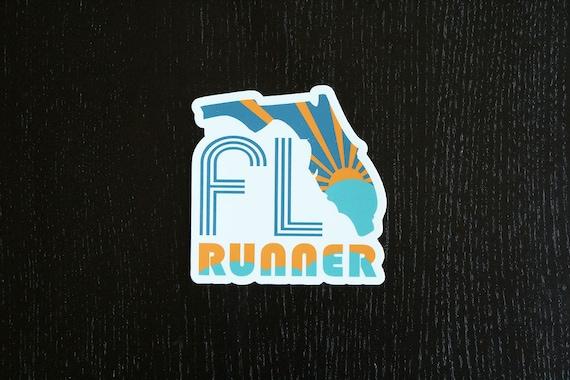Florida Runner Sticker - Vinyl Die Cut Sticker - Florida Running Stickers - Run Florida - Car Stickers
