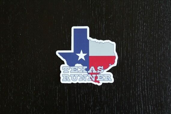 Texas Runner Sticker - Vinyl Die Cut Sticker - Texas Running Stickers - Run Texas - Car Stickers