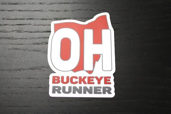 Buckeye Runner Sticker - Vinyl Die Cut Sticker - Running Stickers - Run Ohio - Car Stickers