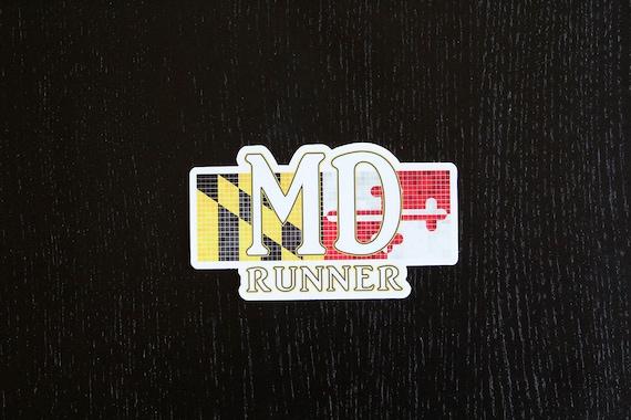 Maryland Runner Sticker - Vinyl Die Cut Sticker - Maryland Running Stickers - Run Maryland - Car Stickers