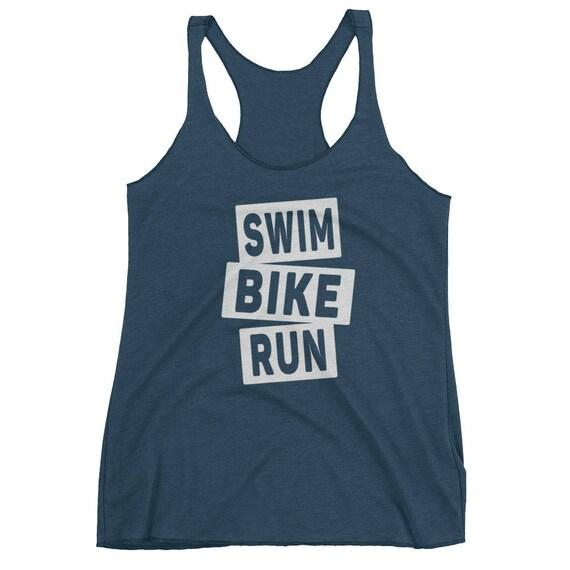 Women's Swim Bike Run Racerback Tank Top - Triathlon Tank Top - Women's Racerback Tank