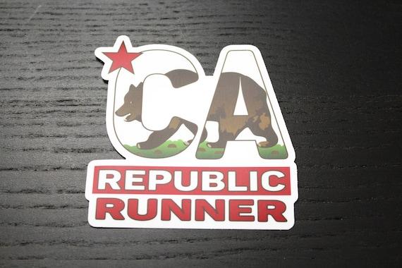 California Runner Sticker - Vinyl Die Cut Sticker - California Republic Runner - Running Stickers - Run California - Car Stickers