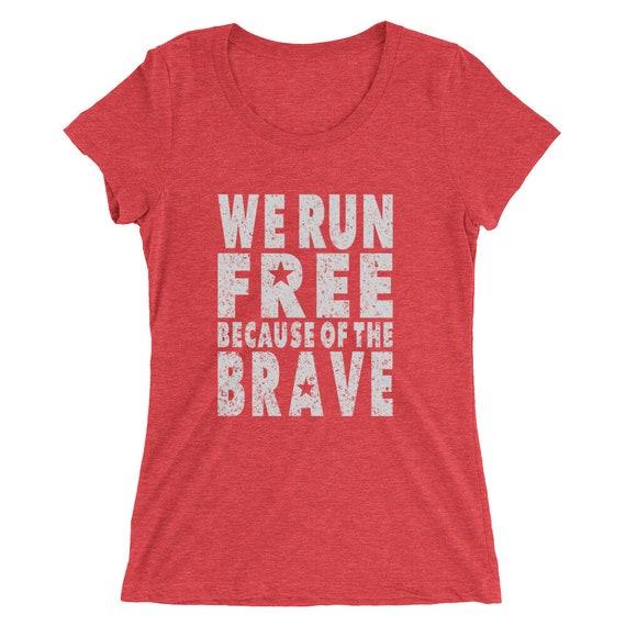 Women's We Run Free Because of the Brave Triblend T-Shirt - 4th of July - Run USA - American Runner - Women's Short Sleeve Running Shirt
