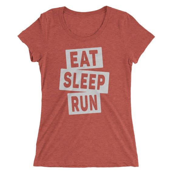 Women's Eat Sleep Run Triblend T-Shirt - Running Shirt - Available in 12 Different Triblend Colors - Women's Short Sleeve Running Shirt