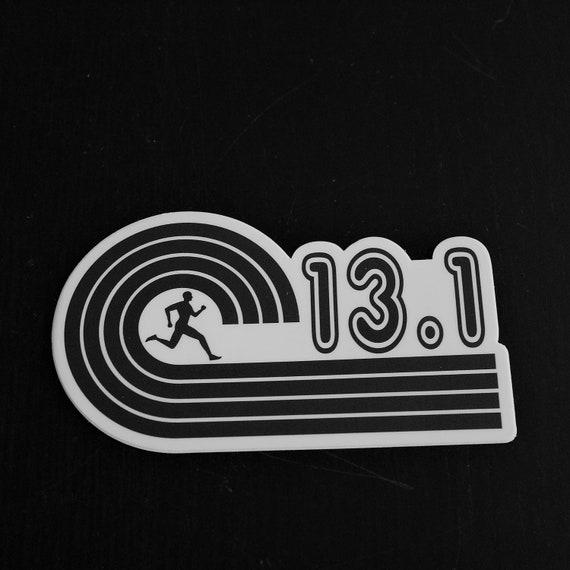 13.1 Runner Sticker - Vinyl Die Cut Sticker - Running Stickers - Run 13.1 - Black and White or Pink and White - Half Marathon - Car Stickers
