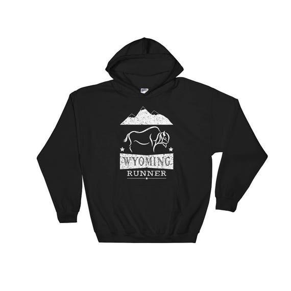 Wyoming Runner Hooded Sweatshirt - Unisex Sweatshirt - Run Wyoming - Heavy Hoodie Sweatshirt
