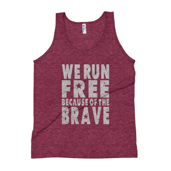 Men's We Run Free Because of the Brave Triblend Tank Top - 4th of July - Run USA - American Runner - Men/Unisex Running Singlet