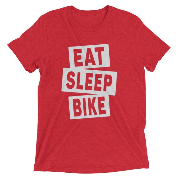 Men's Eat Sleep Bike TriBlend T-Shirt - Cycling Shirt - Available in 16 Different Triblend Colors - Men's Short Sleeve Cycling T-Shirt