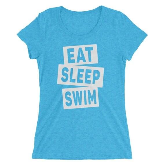 Women's Eat Sleep Swim Triblend T-Shirt - Swimming Shirt - 12 Different Shirt Colors - Women's Short Sleeve Swimming Shirt