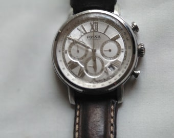 473d0f105 Fossil Chronograph Men's Watch FS5102 Silver Tone Brown Leather Strap 5ATM