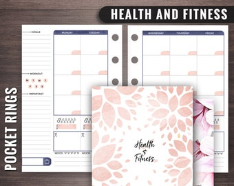 Pocket Rings Health and Fitness Planner, Filofax Pocket Fitness Planner, Pocket Rings Fitness Planner, Pocket Rings Insert, Pocket Rings