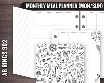 302 A6 Rings Monthly Meal Planner, A6 Menu Planner, Foxy Fix Rings Inserts, Printable A6 Rings Insert, A6 Rings Printable, A6 Rings