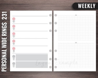 231 - Weekly - Personal Wide Rings Inserts, Foxy Fix Rings Inserts, Personal Wide Lists, Personal Wide Printable, Personal Wide
