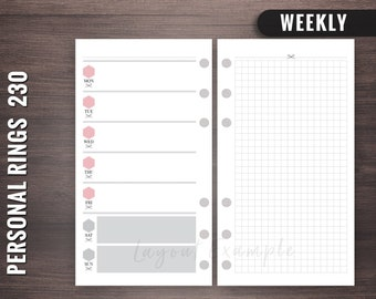230 - Weekly - Personal Rings Insert, Foxy Fix Rings Inserts,Personal Rings Printable Insert, Filofax Personal, Personal Filofax Weekly